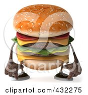 Royalty Free RF Clipart Illustration Of A 3d Hamburger Character Facing Front And Pouting by Julos