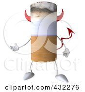Royalty Free RF Clip Art Illustration Of A 3d Devil Cigarette Character Gesturing by Julos