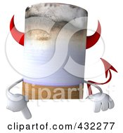 Royalty Free RF Clip Art Illustration Of A 3d Devil Cigarette Character With A Blank Sign 1 by Julos