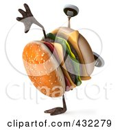Royalty Free RF Clipart Illustration Of A 3d Hamburger Character Doing A Hand Stand by Julos