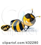 Royalty Free RF Clipart Illustration Of A 3d Bee Character Wearing Shades And Reclining
