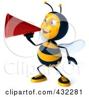 Royalty Free RF Clipart Illustration Of A 3d Bee Character Announcing