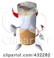 Royalty Free RF Clipart Illustration Of A 3d Devil Cigarette Character Holding A Thumb Down by Julos