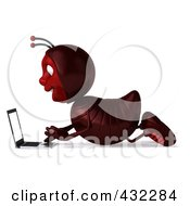 Royalty Free RF Clipart Illustration Of A 3d Ant Character Using A Laptop On The Floor Pose 1 by Julos