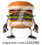 Royalty Free RF Clipart Illustration Of A 3d Hamburger Character Facing Front by Julos