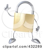 Royalty Free RF Clipart Illustration Of A 3d Padlock Character With An Idea by Julos