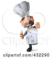 Royalty Free RF Clipart Illustration Of A 3d Chef Man Looking Around A Blank Sign Holding A Thumb Up by Julos