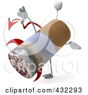 Royalty Free RF Clipart Illustration Of A 3d Devil Cigarette Character Doing A Cartwheel by Julos