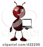 Royalty Free RF Clipart Illustration Of A 3d Ant Character Holding A Laptop Pose 1 by Julos