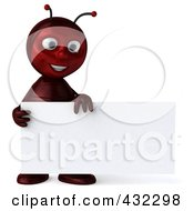 Royalty Free RF Clipart Illustration Of A 3d Ant Character Holding A Blank Business Card by Julos