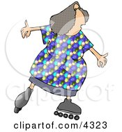 Obese Woman Skating On Inline Skates Clipart