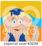 Blond Caucasian Graduating Girl Holding A Diploma