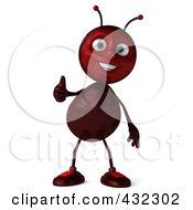 Royalty Free RF Clipart Illustration Of A 3d Ant Character Holding A Thumb Up by Julos