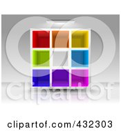 Royalty Free RF Clipart Illustration Of A Light Shining Down On Colorful Empty Cubby Shelves