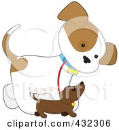 Royalty Free RF Clipart Illustration Of A Cute Puppy Walking Alongside A Smaller Dog