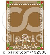 Gingerbread Man Holly And Frosting Border On Brown Gingerbread