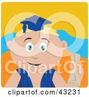 Blond Caucasian Graduating Boy Holding A Diploma