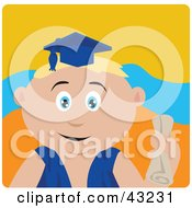 Clipart Illustration Of A Blond Caucasian Graduating Boy Holding A Diploma