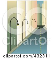 Royalty Free RF Clipart Illustration Of A Deserted City Street With Tall Buildings