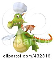 Royalty Free RF Clipart Illustration Of A 3d Dragon Chef Holding A Plate 3
