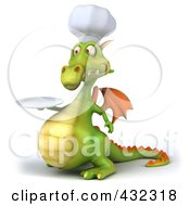Royalty Free RF Clipart Illustration Of A 3d Dragon Chef Holding A Plate 2