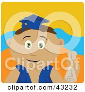 Clipart Illustration Of A Hispanic Graduating Boy Holding A Diploma