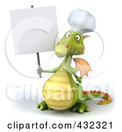 Royalty Free RF Clipart Illustration Of A 3d Dragon Chef Holding Up A Blank Sign