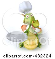 Royalty Free RF Clipart Illustration Of A 3d Dragon Chef Holding A Plate 1