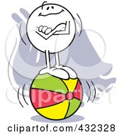 Royalty Free RF Clipart Illustration Of A Moodie Character Standing Confident On A Ball