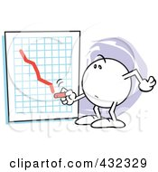 Royalty Free RF Clipart Illustration Of A Moodie Character Drawing A Downswing Line On A Graph by Johnny Sajem