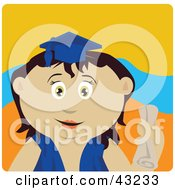 Clipart Illustration Of A Mexican Graduating Girl Holding A Diploma by Dennis Holmes Designs