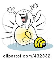 Royalty Free RF Clipart Illustration Of A Moodie Character Sitting Happy On An Idea Light Bulb