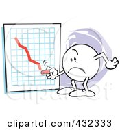 Royalty Free RF Clipart Illustration Of A Moodie Character Drawing A Red Line To Bankruptcy On A Graph by Johnny Sajem