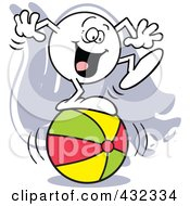 Royalty Free RF Clipart Illustration Of A Moodie Character Standing Happy On A Ball