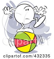 Royalty Free RF Clipart Illustration Of A Moodie Character Standing Nervous On A Ball