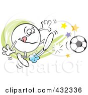 Royalty Free RF Clipart Illustration Of A Moodie Character Kicking A Soccer Ball by Johnny Sajem