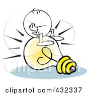 Royalty Free RF Clipart Illustration Of A Moodie Character Sitting And Pondering On An Idea Light Bulb