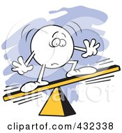 Royalty Free RF Clipart Illustration Of A Moodie Character Unbalanced On A Board by Johnny Sajem