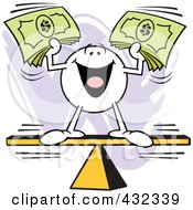 Royalty Free RF Clipart Illustration Of A Moodie Character Balanced And Holding Cash On A Board by Johnny Sajem