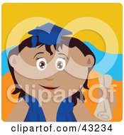 Clipart Illustration Of A Latin American Graduating Girl Holding A Diploma by Dennis Holmes Designs
