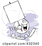 Royalty Free RF Clipart Illustration Of A Moodie Character Carrying A Blank Sign With A Happy Expression