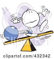 Royalty Free RF Clipart Illustration Of A Moodie Character Out Of Balance With A Ball And Chain On A Board