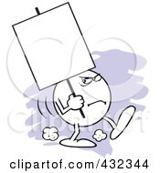 Royalty Free RF Clipart Illustration Of A Moodie Character Carrying A Blank Sign With A Scowl