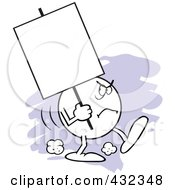 Royalty Free RF Clipart Illustration Of A Moodie Character Carrying A Blank Sign With An Angry Expression