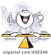 Royalty Free RF Clipart Illustration Of A Moodie Character With A Balanced Opinion On A Board