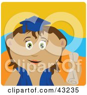 Clipart Illustration Of A Hispanic Graduating Girl Holding A Diploma by Dennis Holmes Designs