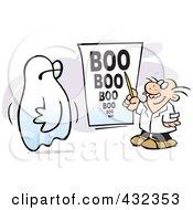 An Optometrist Giving A Ghost A Boo Eye Exam