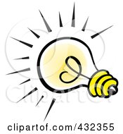 Royalty Free RF Clipart Illustration Of A Yellow Glowing Bulb by Johnny Sajem