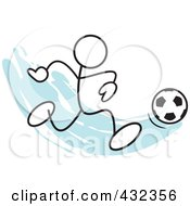 Royalty Free RF Clipart Illustration Of A Stickler Man Playing Soccer 1