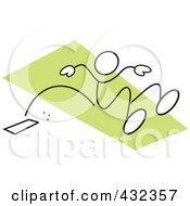 Royalty Free RF Clipart Illustration Of A Stickler Man Doing The Long Jump 2